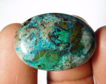 Natural Chrysocolla Cabochons,loose stone. semi precious. Gemstone 100%Natural chrysocolla semi precious 33cts.(30X21)mm