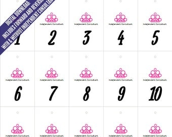Paparazzi Pink Crown Live Jewelry Sales Reverse & Forward Numbers 1-500 | Mirror Image Tags Backwards Inventory Cards 20 per Page Printable
