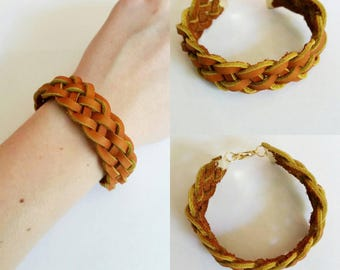 5 strand braided leather bracelet