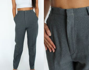 "High Waisted Grey Trouser Pants 27"" Waist S/M"