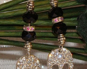 Skull and Rhinestone Earrings