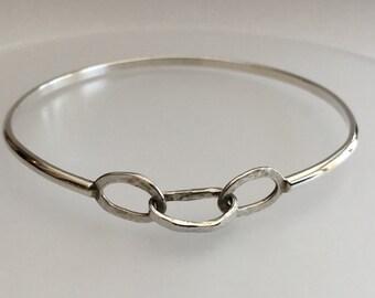Sterling Silver 3 hammered link bangle