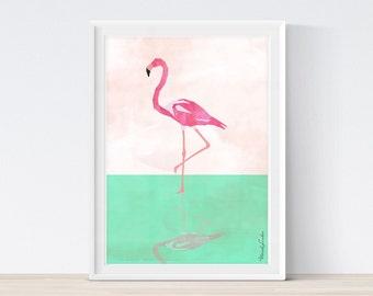 Flamingo Print, Flamingo Art, Tropical Wall Art Decor, Birds Print, Pink and Green, Pastel Color, Modern Wall Art, Printable Art