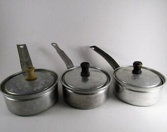 Vintage Aluminum Toy Pans With Lids Set of 3