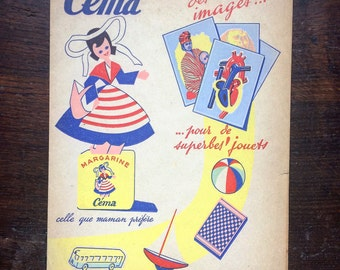 Textbook advertising for margarine Cema. Nice graphics. The 1950s. french vintage!