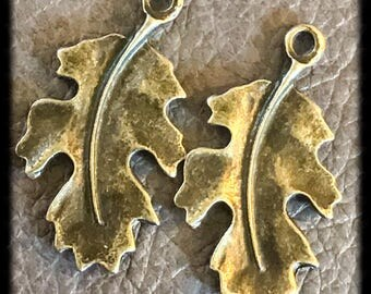 Beautiful Antique Brass Leaf Charms Drops Pair - 25mm - A31