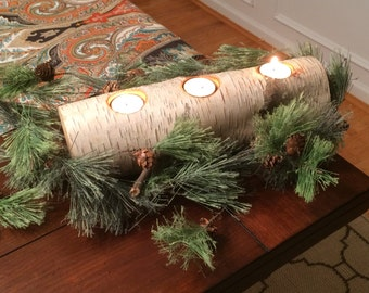 Birch Wood Candle Holder