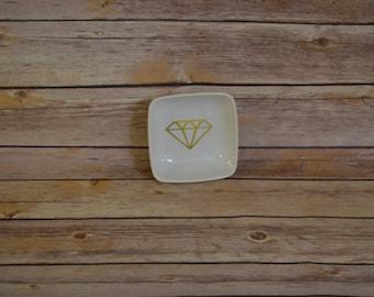 Engagement Ring Dish- Wedding Ring Dish- Wedding Gift-Gift for her- Wedding Shower Gift-Personalized gift-Ring Dish-Diamond-Vinyl Decal