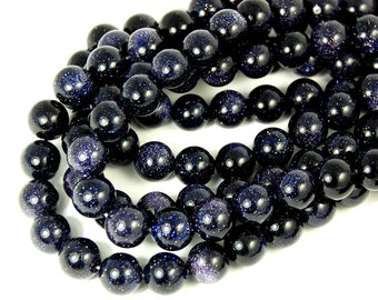 "Two 15"" strands Blue Goldstone Beads 8mm"
