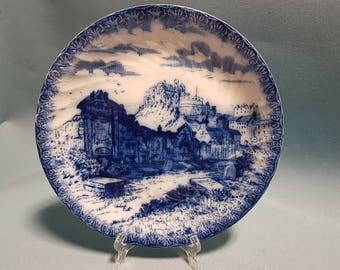 Antique Flow Blue Plate, Graveyard and Castle Scene