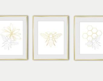 Bee Set of 3 Digital Print Beehive Art wall Bee printable Beehive Wall decor Art