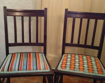 Set of two refurbished dining chairs