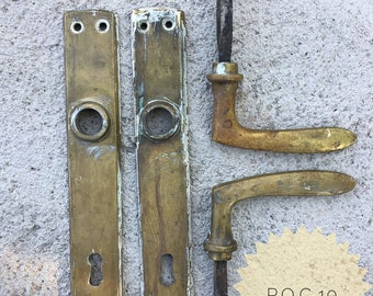 VINTAGE Art Nouveau art nouveau brass DOOR HANDLES, brass door handles |
