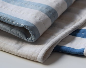 Hand Dyed Indigo Stripe Quilt I