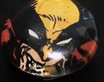 Vintage Wolverine Glass Pebble Magnet