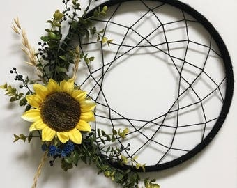 "Dreamcatcher like wall hanging with sunflower-""Sunny"""