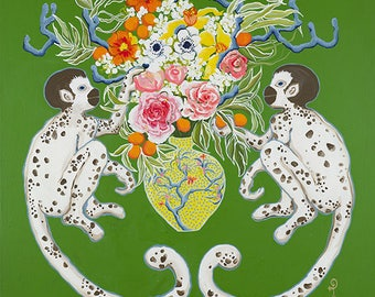 Monkeys on green with bouquet by Paige Gemmel