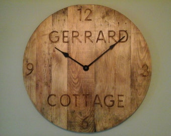 Large 60cm/2ft Personalised 'Farmhouse' Engraved Rustic Pallet Wood Wall Clock