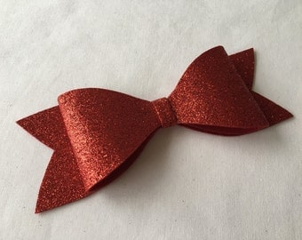 Red Glitter Oversized Hair Bow on French Barrette