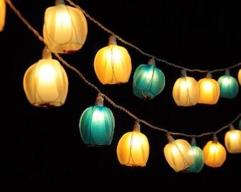Blue Tulip Lights, Fairy Lights, String lights for bedroom, outdoor string lights, Fairy Lights, String Lights, patio string lights