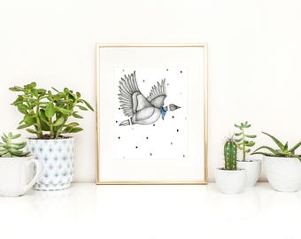 Poster of an illustration of goose in flight wearing a scarf / watercolor and black marker in the format 11 x 14 / minimalist