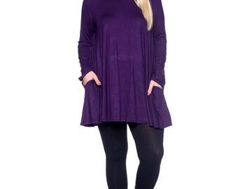 Purple Long Sleeve Pocket Tunic - Plus Size