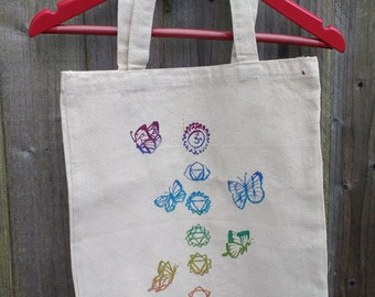 Chakra butterfly rainbow screen print silkscreen cotton canvas fabric shopper tote bag