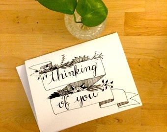 Thinking of you, hand drawn pen and ink greeting card