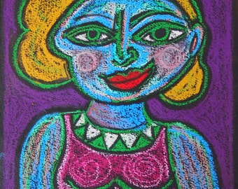 Confidence -Strong Woman Original Oil Pastel Drawing