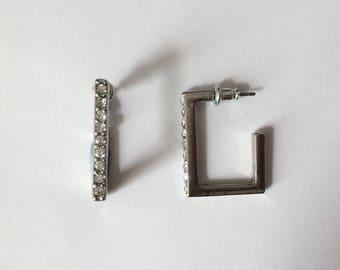 Vintage 1980's Square Hoop Rhinestone Earrings