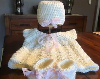 Crochet Dress, Hat, & Bootie Set
