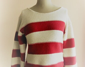 Remel From London Pullover Smock sailor red sleeves and off white sweater 3 4