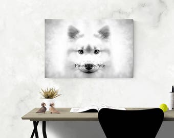 Dog canvas print, portrait, gifts for dog lovers, dog lover gift, black and white, wall art, decor, wall hangings