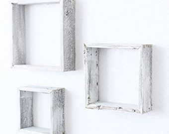 Reclaimed Barn Wood Rustic Vintage White Distressed Open Box Floating Furniture Shelves