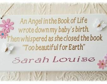 Angel Baby Memorial Wall Plaque.