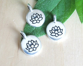 Lotus pendant etsy lotus charms set of 3 lotus silver lotus made in the us mozeypictures Image collections