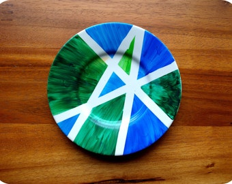 Modern Green & Blue Geometric Plate // Jewelry Plate