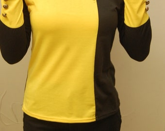 Lady Gaga Bad Romance Vixen | Yellow & black color block blouse with distressed gold buttons | Long sleeves | 90's | size Small