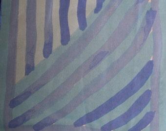 Vera Neumann Oblong Sheer Light and Dark Blue Striped  Scarf on Light Blue Background