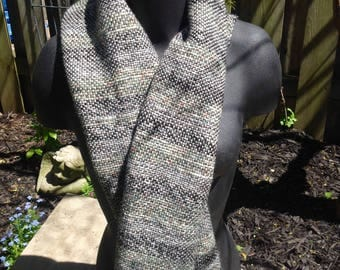 Scarf for Warm and Cosy for Fall Handwoven Accessory in Shades of Cream and Green