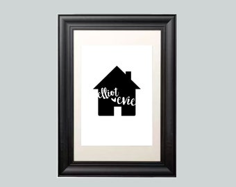 Bespoke Personalised A5/A4 Home Sweet Typography Home Print