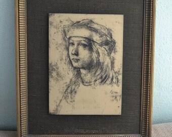 SALE Vintage Frames Artini Engraving of Boy