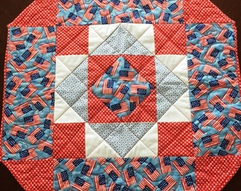 Patriotic Blue Flag Quilted Octagon Runner
