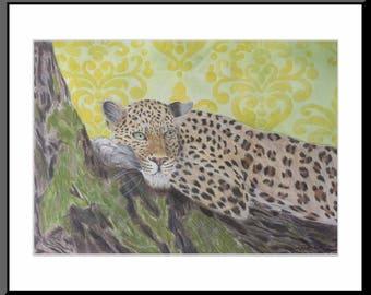 Dibujo Original lápiz de color Leopardo Barroco