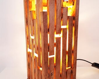 Wooden Table Lamp / Home Decor / Housewarming Gift / Abstract Design / Desk Light