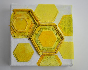 Bright Sunshine Lemon Yellow Mixed Media Collage of Hexagons on Small Box Canvas. One of a kind!