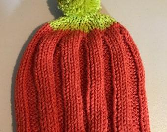 Super Cute Youth Hand Knit Pumpkin Hat with Pom Pom, Green & Orange