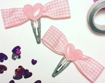 Pink gingham glitter heart snap hair clips