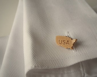 Cufflinks - 3D Print - USA / America - Wood look with engraving