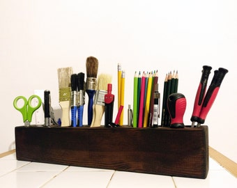Large 42cm Handmade Wooden Desk Organizer, Desk Caddy, Office Desk Accessories, Desk Storage, Pencil Holder, Desk Tidy,  Paint Brush Holder